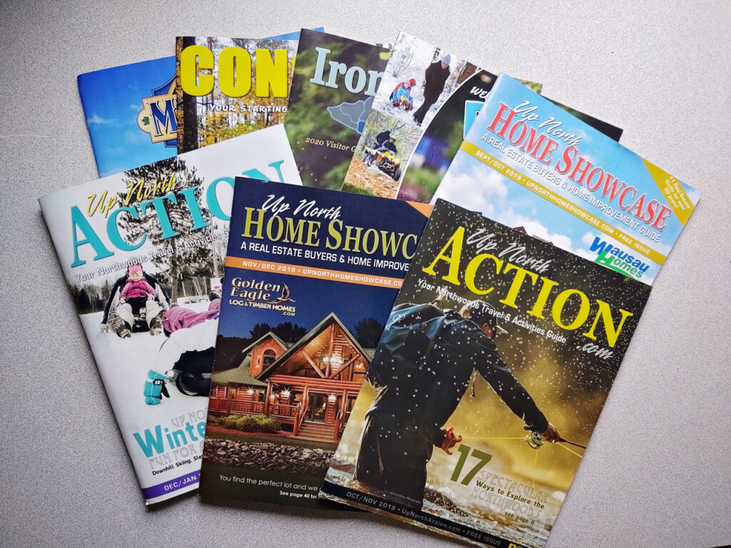 Brochures, rack cards, and magazines are examples of 5 Star Marketing's Northern Wisconsin Print Advertising.